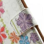 Peňaženkové zapínací puzdro na Samsung Galaxy A5 - farebné květiny - 5/7