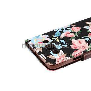Květinové peňaženkové puzdro na Samsung Galaxy A5 - čierné - 5