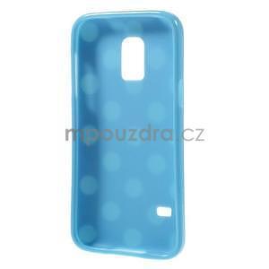 Svetlo modrý puntíkatý gélový obal pre Samsung Galaxy S5 mini - 5