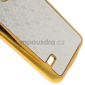 Strieborné elegantní plastové puzdro se zlatým lemem pre Samsung Galaxy S5 mini - 5