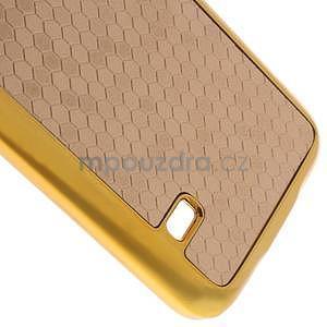Béžové elegantní plastové puzdro se zlatým lemem pre Samsung Galaxy S5 mini - 5