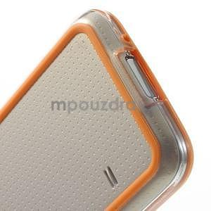 Oranžový gélový kryt s plastovými lemy pre Samsung Galaxy S5 mini - 5