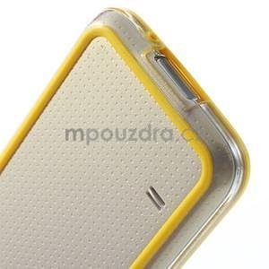 Žlutý gelový kryt s plastovými lemy na Samsung Galaxy S5 mini - 5