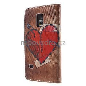 Zapínací peněženkové pouzdro na Samsung Galaxy S5 mini - srdce - 5