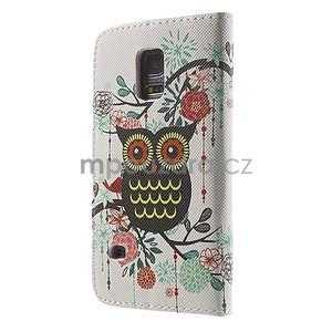 Zapínací peňaženkové puzdro pre Samsung Galaxy S5 mini - kvetinová sova - 5