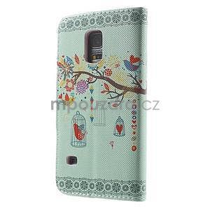 Zapínací peněženkové pouzdro na Samsung Galaxy S5 mini - ptáček v klícce - 5