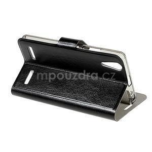 Peňaženkové PU kožené puzdro pre Lenovo A6000 - čierne - 5