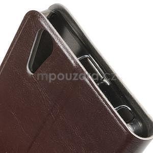 Peňaženkové PU kožené puzdro na Lenovo A6000 -  hnedé - 5