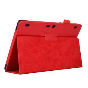 Dvoupolohový PU kožený obal pre Lenovo Tab 2 A10-70 - červené - 5
