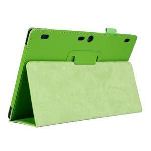 Dvoupolohový PU kožený obal pre Lenovo Tab 2 A10-70 - zelené - 5