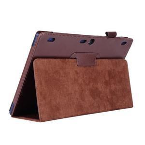 Dvoupolohový PU kožený obal na Lenovo Tab 2 A10-70 - hnědé - 5