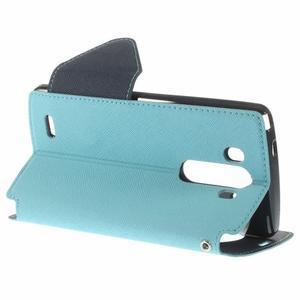Diary puzdro s okienkom na mobil LG G3 - svetlomodré - 5