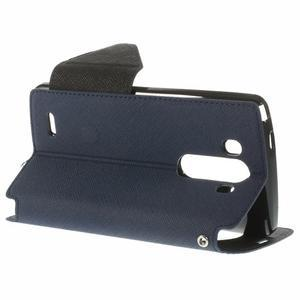 Diary puzdro s okienkom na mobil LG G3 - tmavomodré - 5