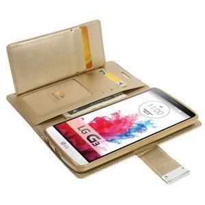 Luxusní PU kožené pouzdro na mobil LG G3 - zlaté - 5