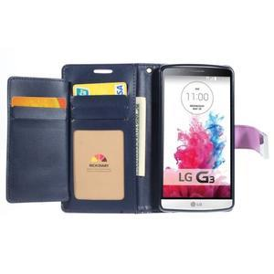 Luxusní PU kožené pouzdro na mobil LG G3 - fialové - 5