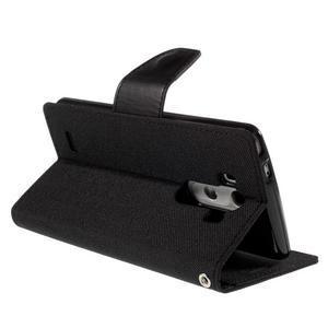 Canvas PU kožené/textilní pouzdro na LG G3 - černé - 5