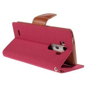 Canvas PU kožené/textilné puzdro pre LG G3 - rose - 5