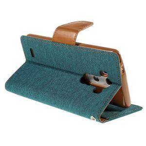 Canvas PU kožené/textilné puzdro pre LG G3 - zelené - 5