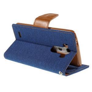 Canvas PU kožené/textilní pouzdro na LG G3 - modré - 5