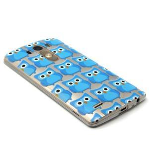 Priehľadný gélový obal pre LG G3 - modré malej sovy - 5