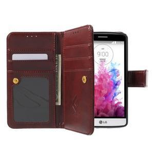Patrové peňaženkové puzdro pre mobil LG G3 - hnedé - 5