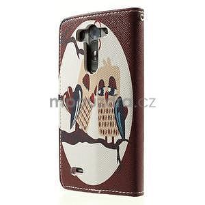 Zapínací peňaženkové puzdro pre LG G3 s - zamilovaní ptáčci - 5