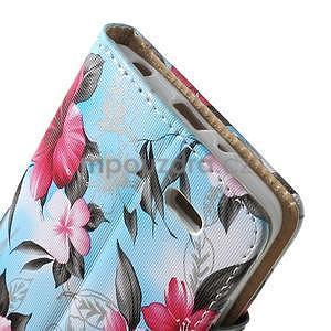 Elegantné lilie peňaženkové puzdro na LG G3 s - tyrkysové - 5