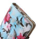 Elegantné lilie peňaženkové puzdro na LG G3 s - tyrkysové - 5/7