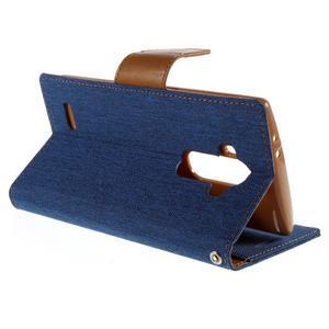 Canvas PU kožené/textilní pouzdro na mobil LG G4 - modré - 5