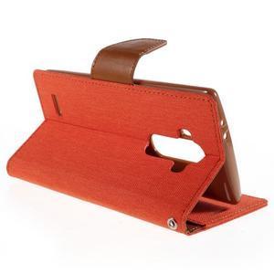 Canvas PU kožené/textilní pouzdro na mobil LG G4 - oranžové - 5