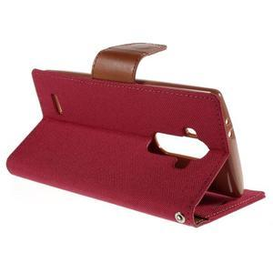 Canvas PU kožené/textilní pouzdro na mobil LG G4 - červené - 5