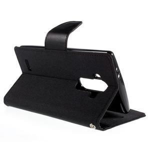 Canvas PU kožené/textilné puzdro pre mobil LG G4 - čierne - 5