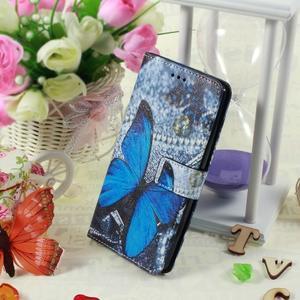 Call peňaženkové puzdro pre LG G4 - modrý motýľ - 5