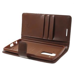 Luxury PU kožené puzdro pre mobil LG G4 - hnedé - 5
