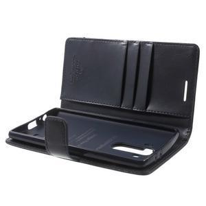 Luxury PU kožené puzdro pre mobil LG G4 - tmavomodré - 5