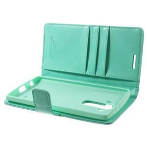 Luxury PU kožené puzdro pre mobil LG G4 - cyan - 5