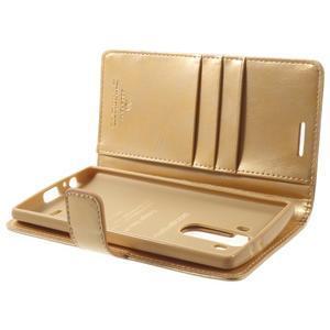 Luxury PU kožené puzdro pre mobil LG G4 - zlaté - 5