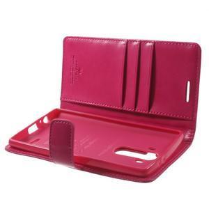 Luxury PU kožené puzdro pre mobil LG G4 - rose - 5