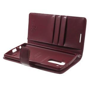 Luxury PU kožené puzdro pre mobil LG G4 - vínove červené - 5