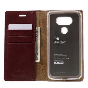 Luxury PU kožené pouzdro na mobil LG G5 - vínově červené - 5