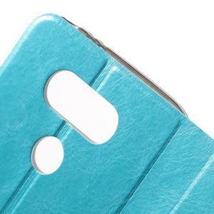 Horse PU kožené peňaženkové puzdro pre LG G5 - modré - 5