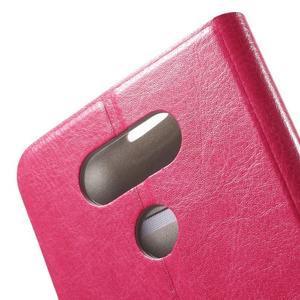 Horse PU kožené peňaženkové puzdro pre LG G5 - rose - 5