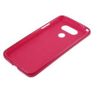 Lesklý gélový obal pre mobil LG G5 - červený - 5