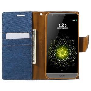 Canvas PU kožené/textilné puzdro pre LG G5 - modré - 5