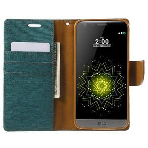 Canvas PU kožené/textilné puzdro pre LG G5 - zelené - 5