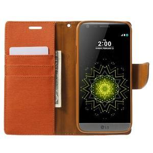 Canvas PU kožené/textilní pouzdro na LG G5 - oranžové - 5