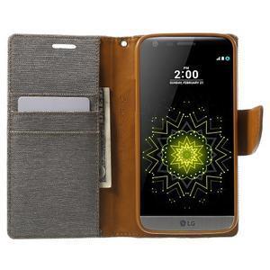 Canvas PU kožené/textilní pouzdro na LG G5 - šedé - 5