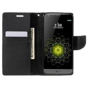 Canvas PU kožené/textilní pouzdro na LG G5 - černé - 5