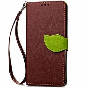 Leaf PU kožené puzdro pre LG G5 - hnedé - 5