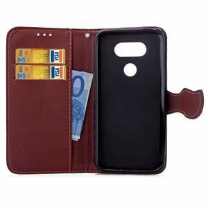 Leaf PU kožené puzdro pre LG G5 - čierne - 5